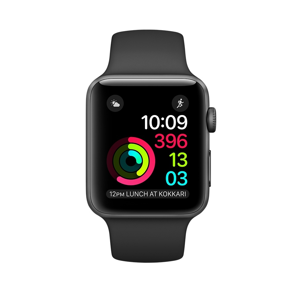 Apple Watch,  38mm Space Gray Aluminum Case with Black Sport Band MP022 - 1
