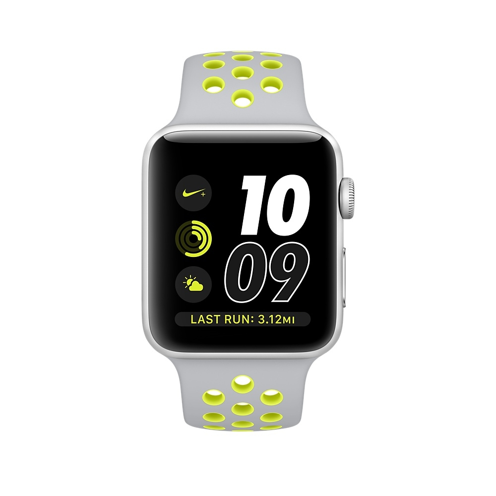 Apple Watch Nike+, 42 mm Silver Aluminum Case with Flat Silver/Volt Nike Sport Band MNYQ2 - 1