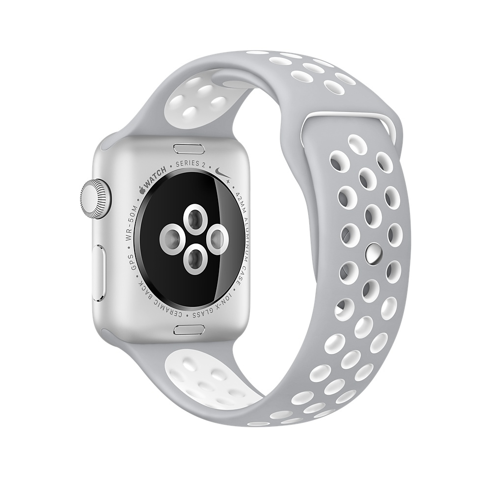 Apple Watch Nike+, 42 mm Silver Aluminum Case with Flat Silver/White Nike Sport Band MNNT2 - 3