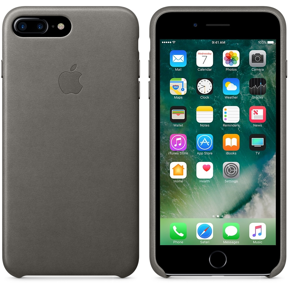 iPhone 7 Plus Leather Case - Storm Gray - 1