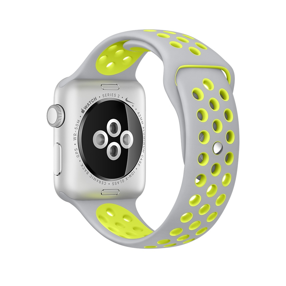 Apple Watch Nike+, 42 mm Silver Aluminum Case with Flat Silver/Volt Nike Sport Band MNYQ2 - 3