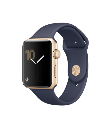 Apple Watch 42 mm Gold Aluminum Case with Midnight Blue Sport Band (MQ152)