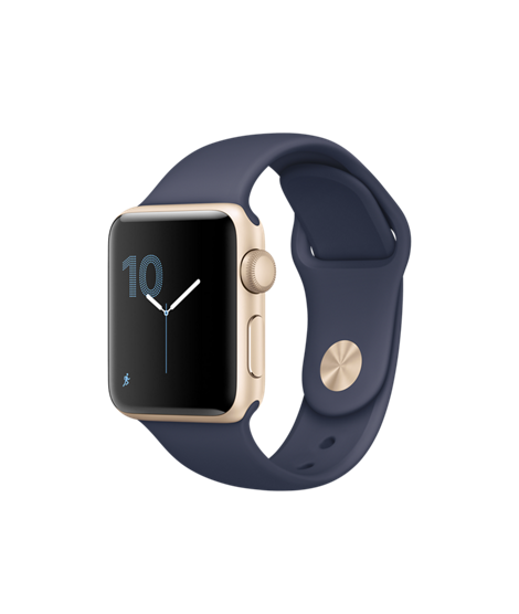 Apple Watch 38 mm Gold Aluminum Case with Midnight Blue Sport Band (MQ132)