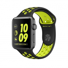 Apple Watch Nike+, 42 mm Space Gray Aluminum Case with Black/Volt Nike Sport Band MP0A2