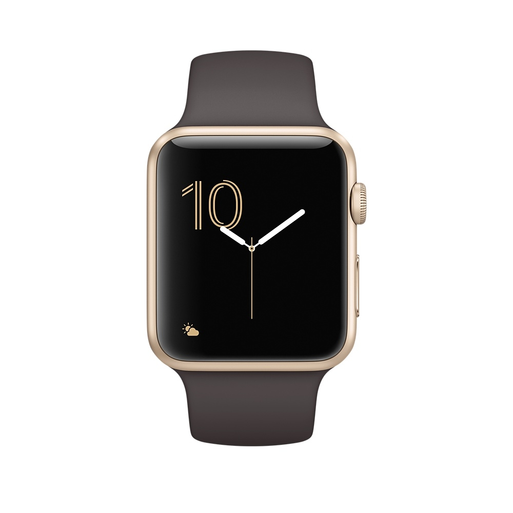 Apple Watch, 42 mm Gold Aluminum Case with Cocoa Sport Band MNPN2 - 1