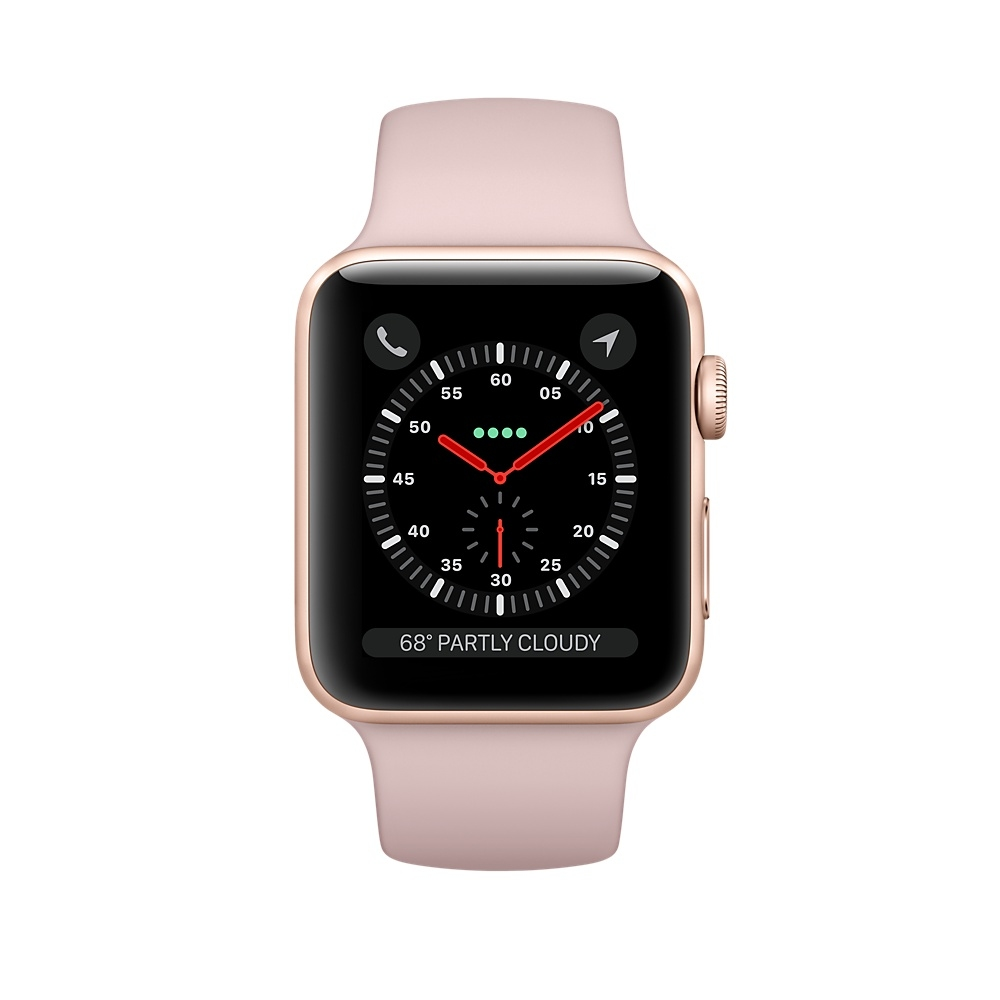Apple Watch GPS + Cellular 42mm Gold Aluminum Case with Pink Sand Sport Band MQK32 - 1