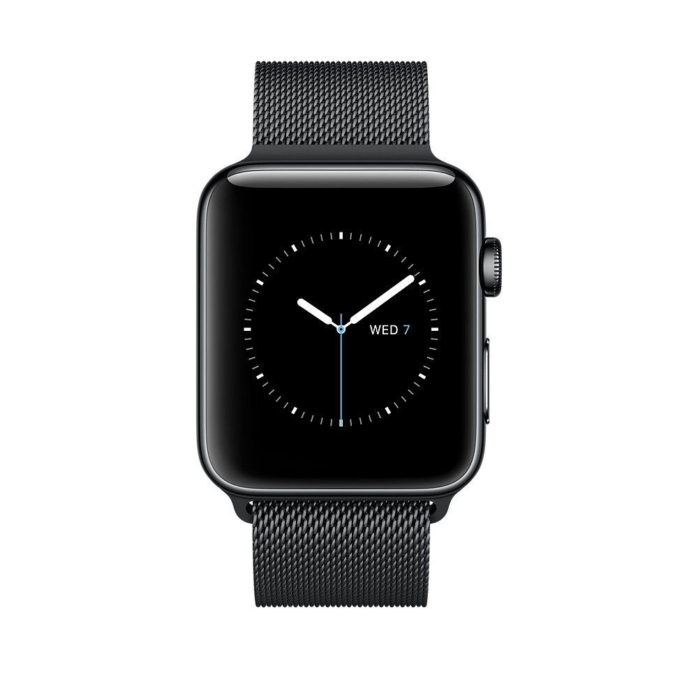 Apple Watch, 42 mm Space Black Stainless Steel Case with Space Black Milanese Loop MNQ12 - 1