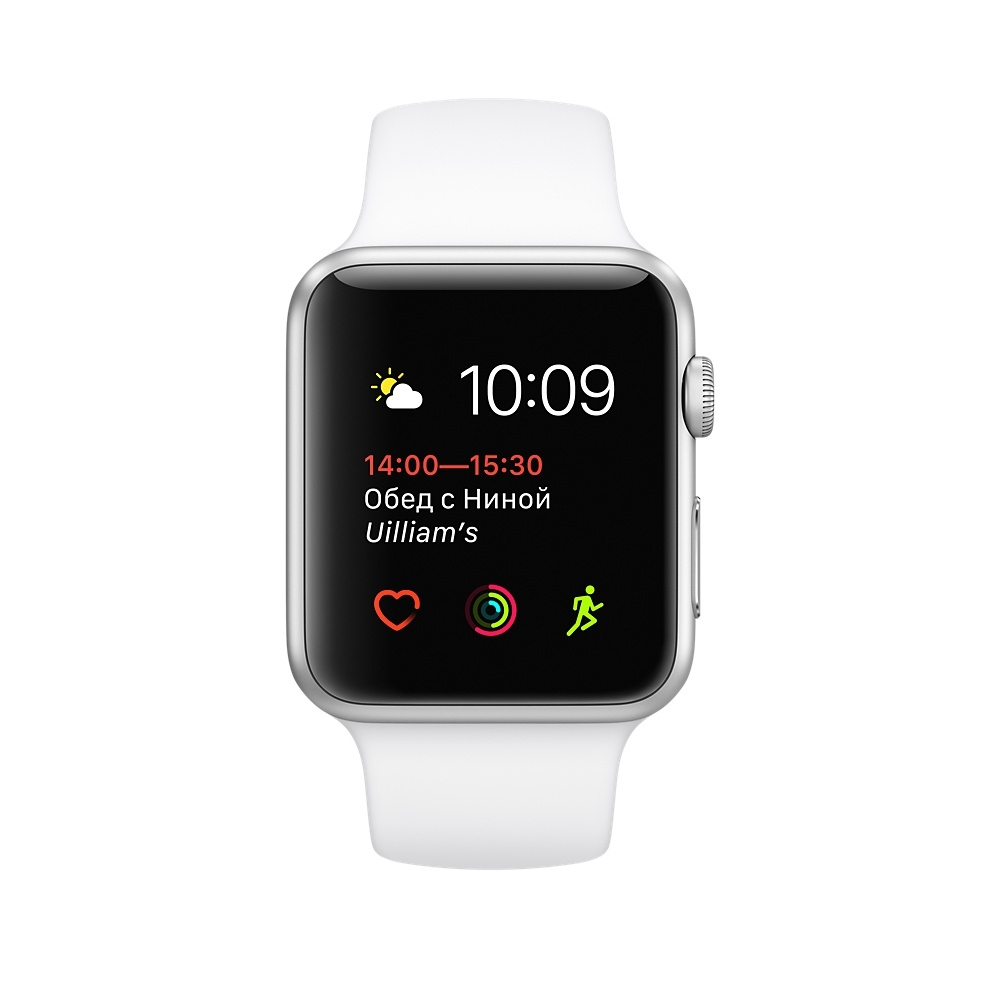 Apple Watch,  38mm Silver Aluminum Case with White Sport Band MNNG2 - 1