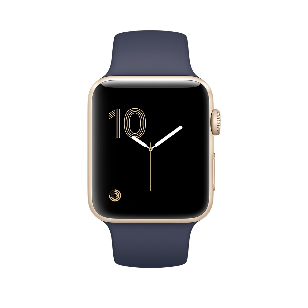 Apple Watch 38 mm Gold Aluminum Case with Midnight Blue Sport Band (MQ132) - 1