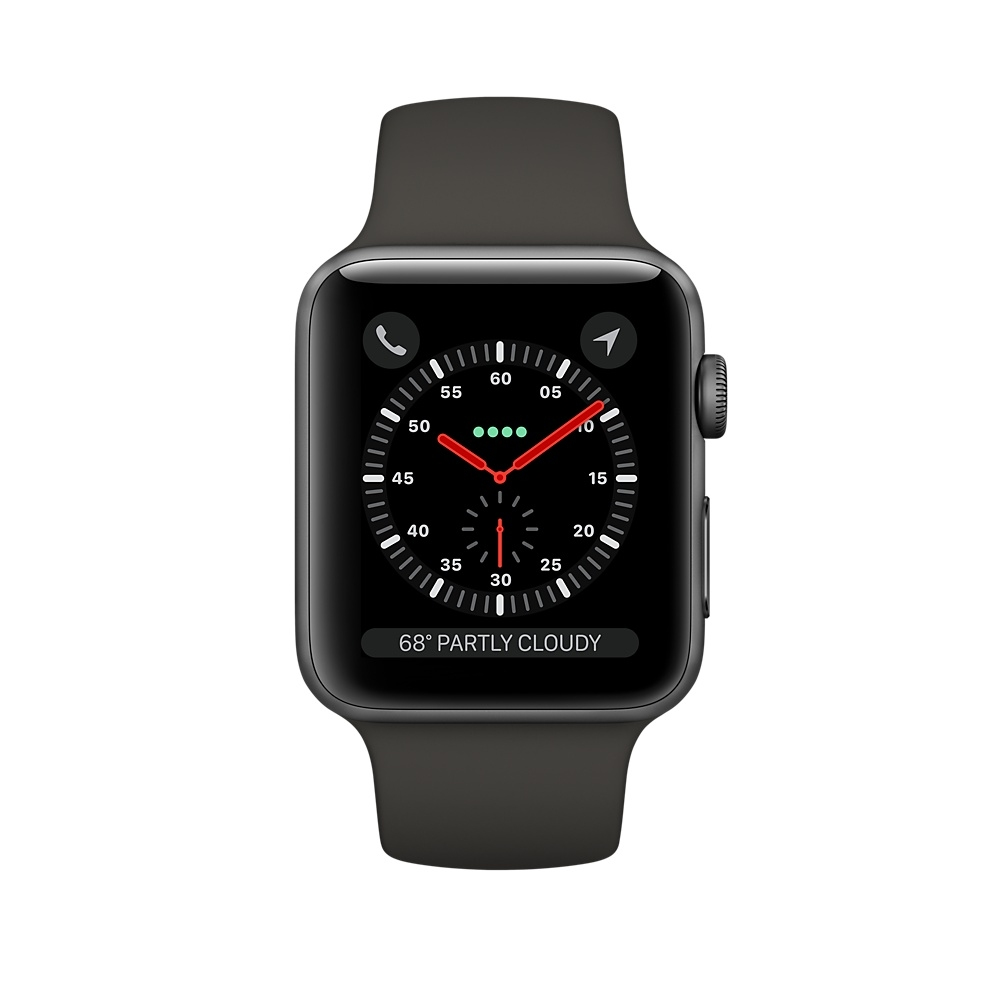 Apple Watch GPS + Cellular 38mm Space Gray Aluminum Case with Black Sport Band MQJP2 - 1