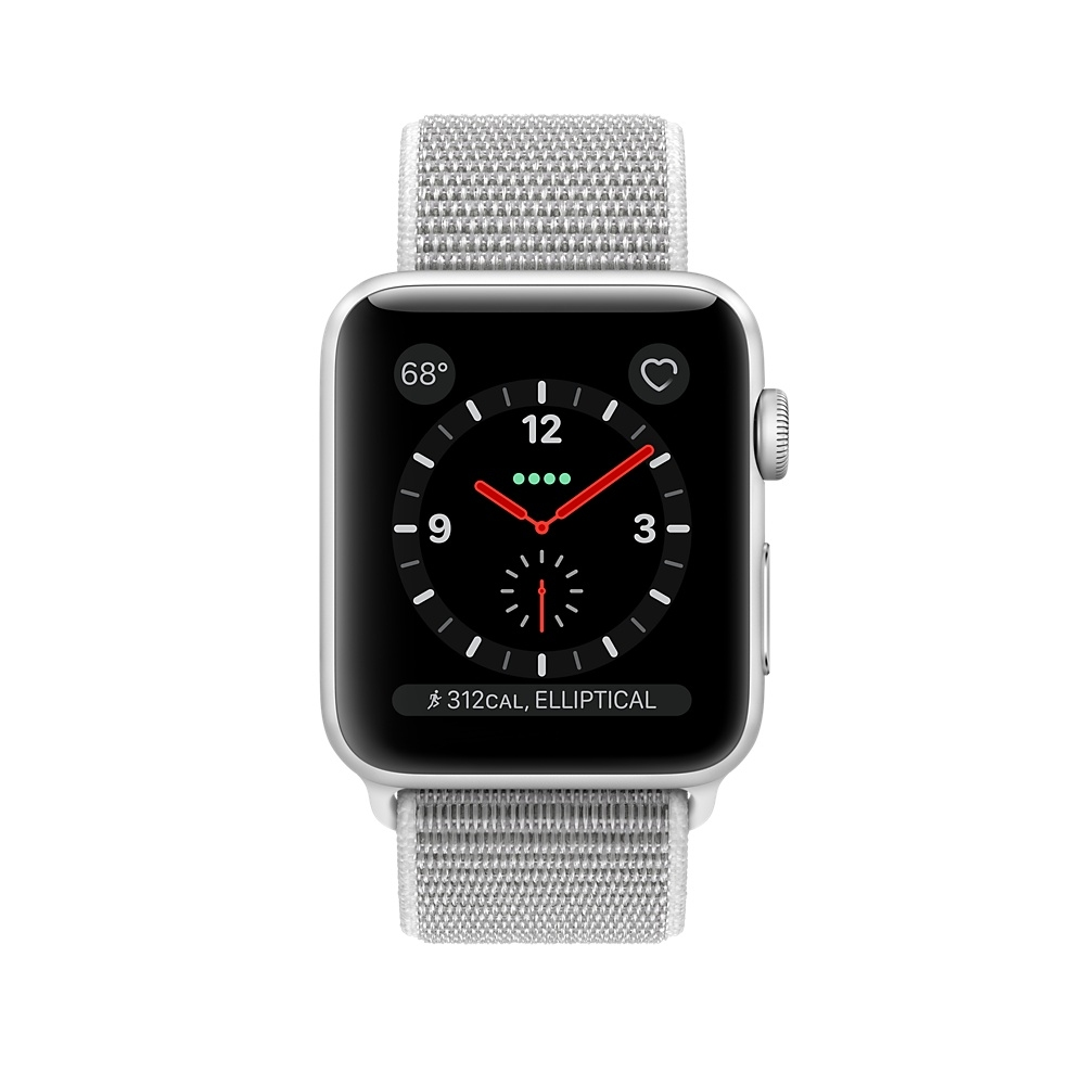 Apple Watch GPS + Cellular 38mm Silver Aluminum Case with Seashell Sport Loop MQJR2 - 1