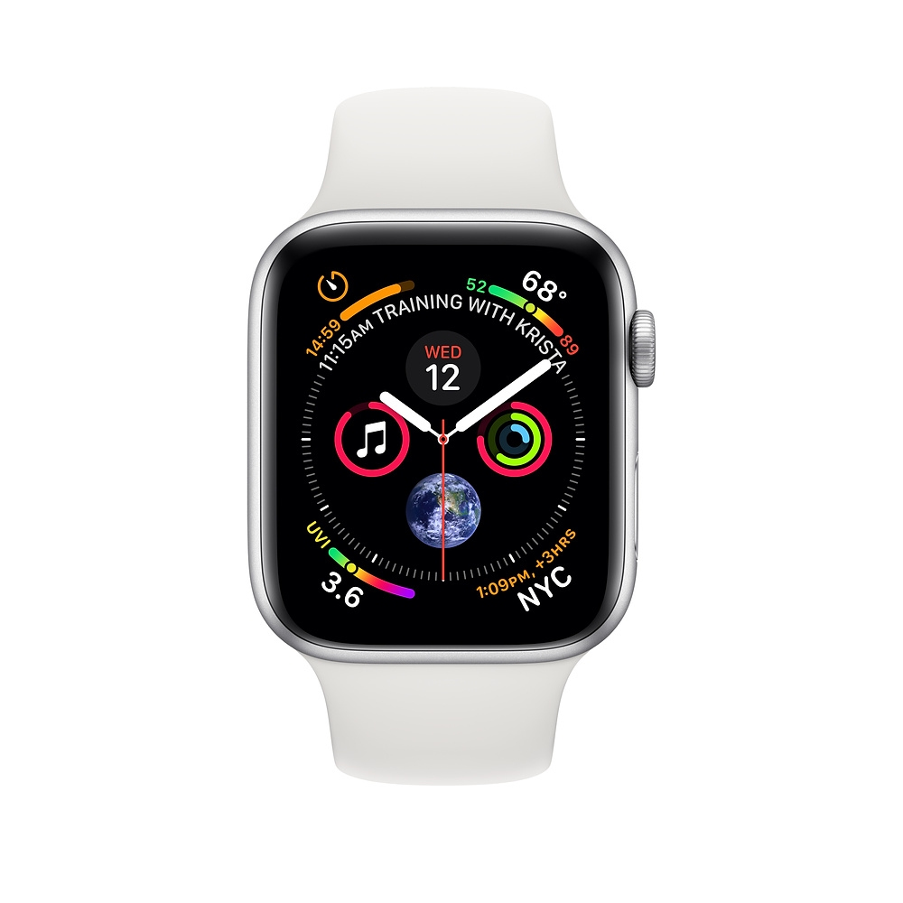 Apple Watch GPS + Cellular 44mm Silver Aluminum Case with White Sport Band (MTVR2) - 1