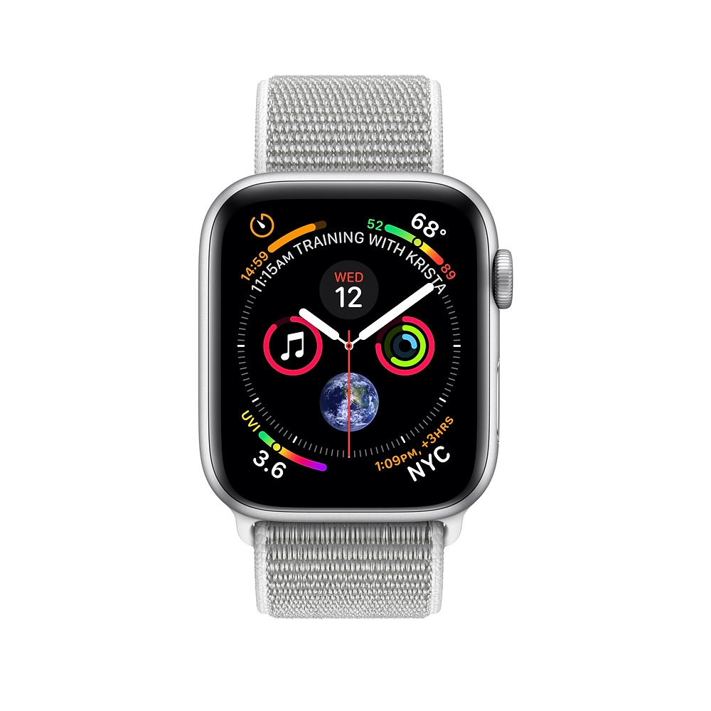 Apple Watch GPS + Cellular 44mm Silver Aluminum Case with Seashell Sport Loop (MTVT2) - 1