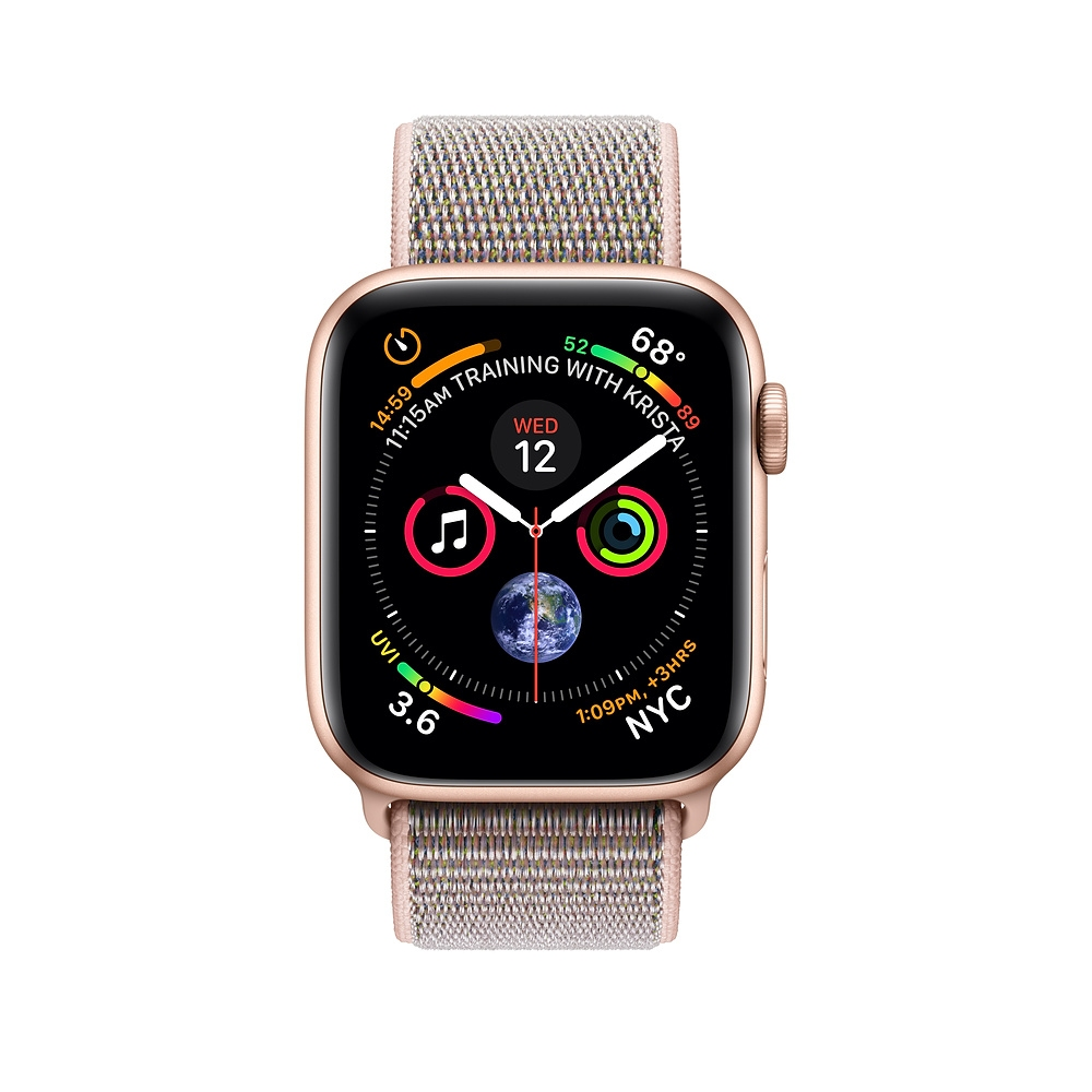 Apple Watch GPS + Cellular 44mm Gold Aluminum Case with Pink Sand Sport Loop (MTVX2) - 1