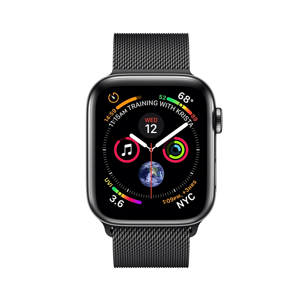 Apple Watch GPS + Cellular 44mm Space Black Stainless Steel Case with Space Black Milanese Loop (MTX32) - 1