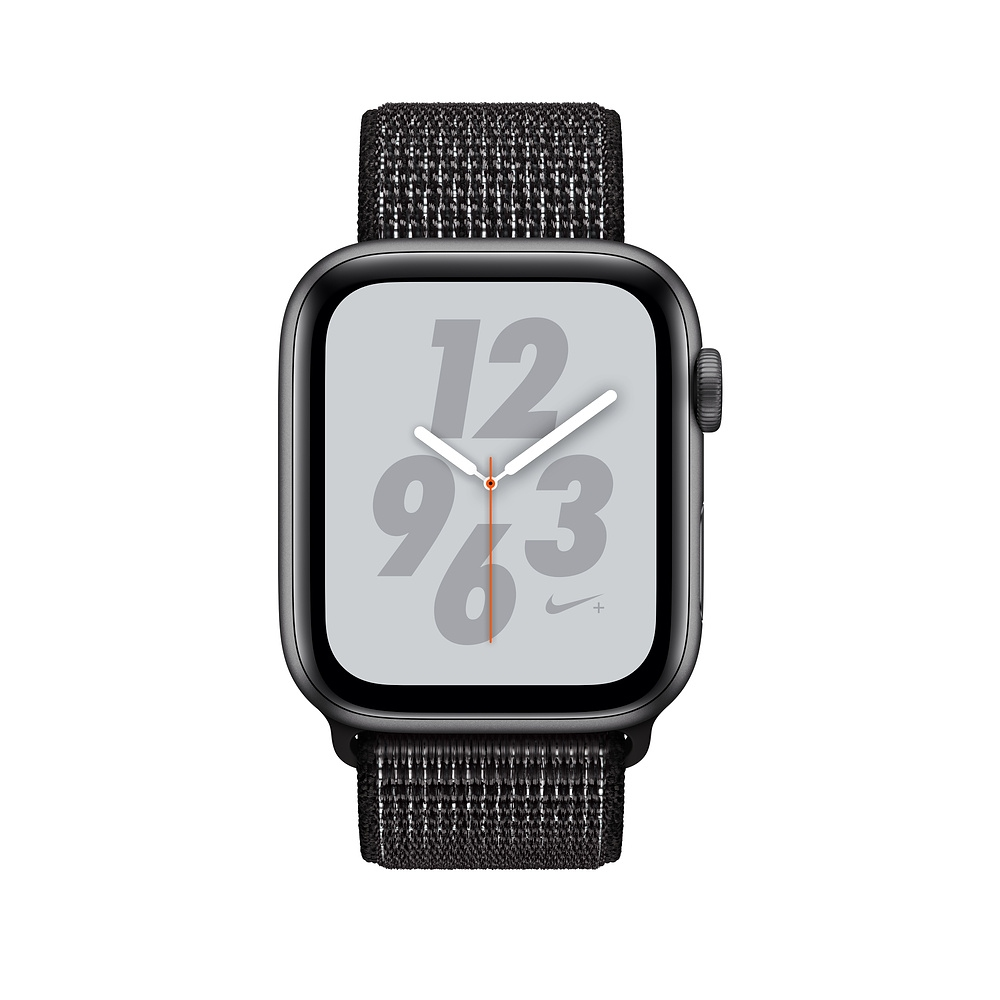 Apple Watch Nike+ Series 4 GPS + Cellular, 44mm Space Gray Aluminum Case with Black Nike Sport Loop (MTXL2) - 1