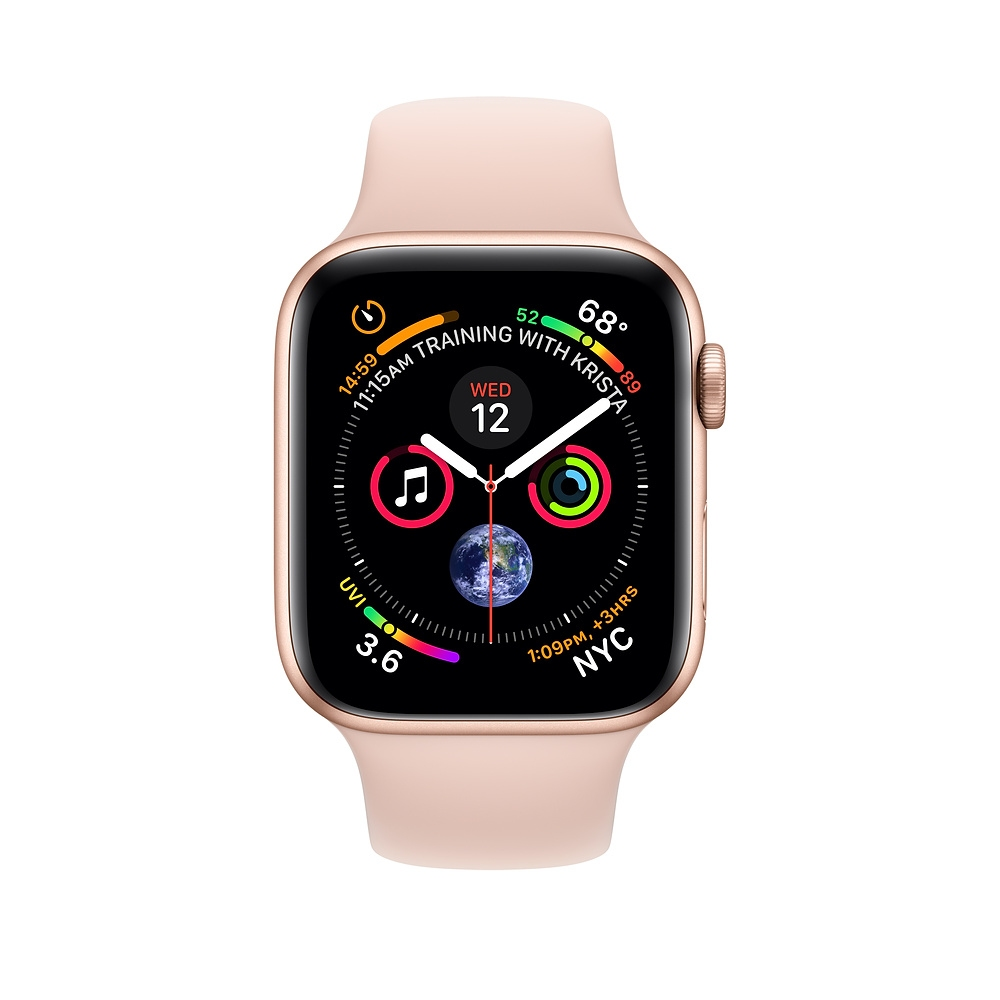 Apple Watch GPS + Cellular 44mm Gold Aluminum Case with Pink Sand Sport Band (MTV02) - 1
