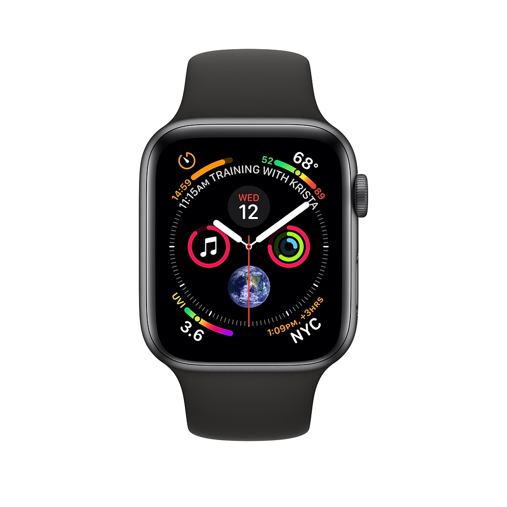 Apple Watch GPS 44mm Space Gray Aluminum Case with Black Sport Band (MU6D2) - 1