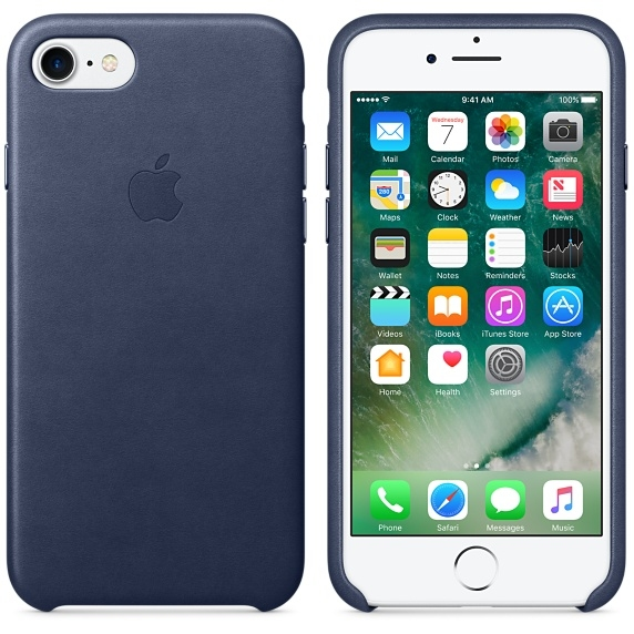 iPhone 7/8 Leather Case - Midnight Blue - 1