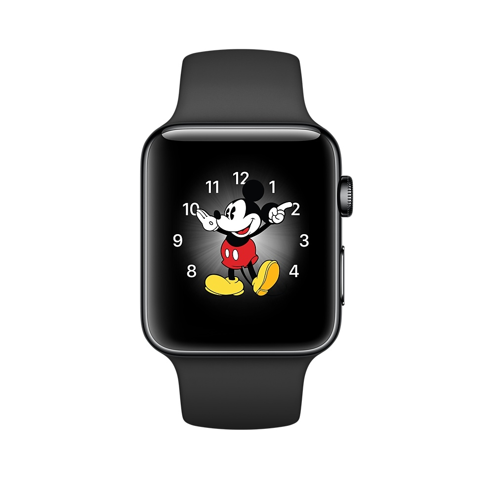 Apple Watch, 42 mm Space Black Stainless Steel Case with Black Sport Band MP4A2 - 1