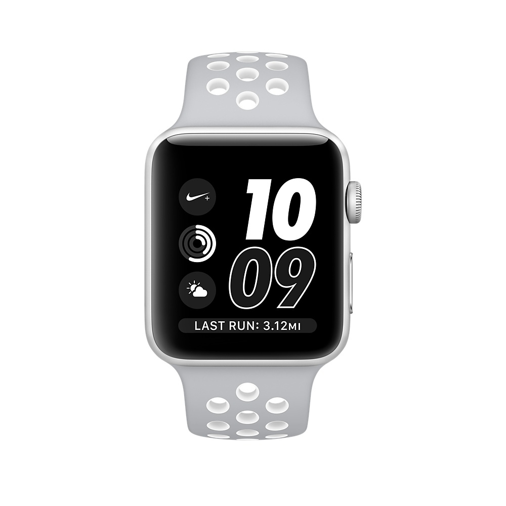 Apple Watch Nike+, 38 mm Silver Aluminum Case with Flat Silver/White Nike Sport Band MNNQ2 - 1