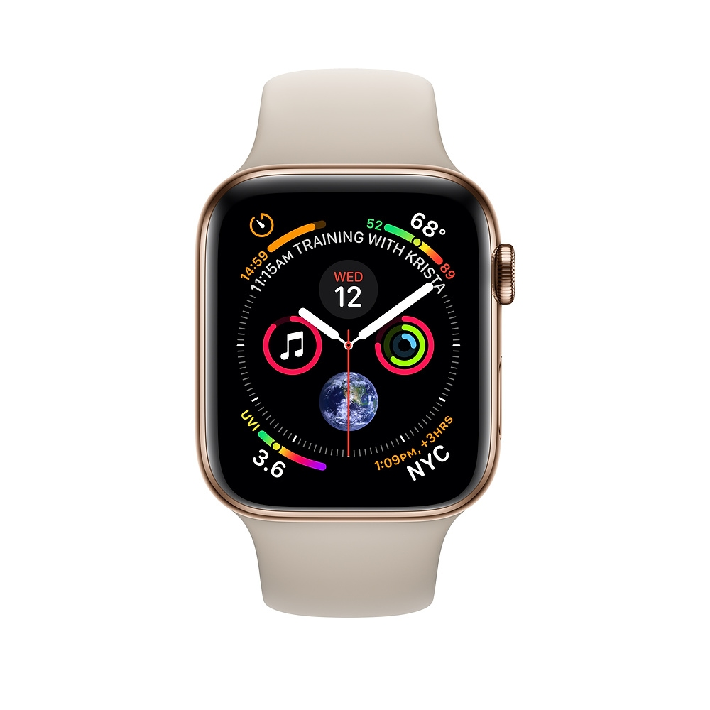 Apple Watch GPS + Cellular 40mm Gold Stainless Steel Case with Stone Sport Band (MTVN2) - 1