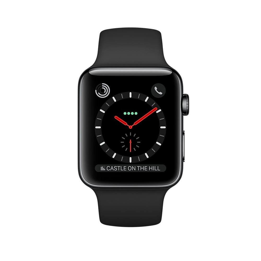 Apple Watch GPS + Cellular 42mm Space Black Stainless Steel Case with Black Sport Band MQK92 - 1