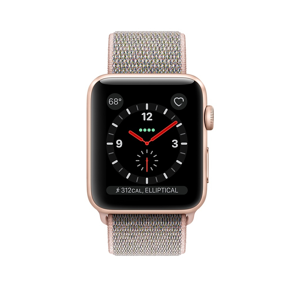 Apple Watch GPS + Cellular 38mm Gold Aluminum Case with Pink Sand Sport Loop MQJU2 - 1