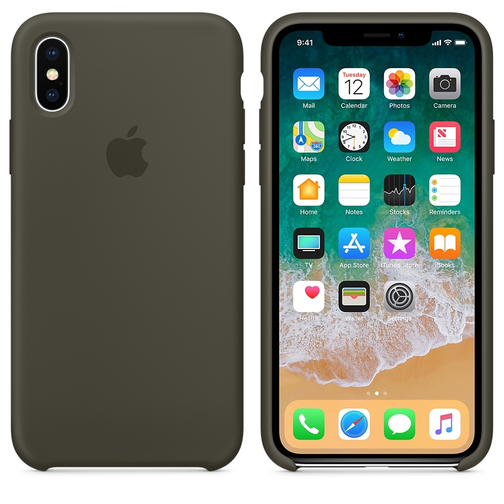 iPhone X\Xs Silicone Case - Dark Olive - 1