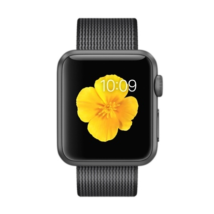 Apple Watch Sport 38mm Space Gray Aluminum Case with Black Woven Nylon MMF62 - 1