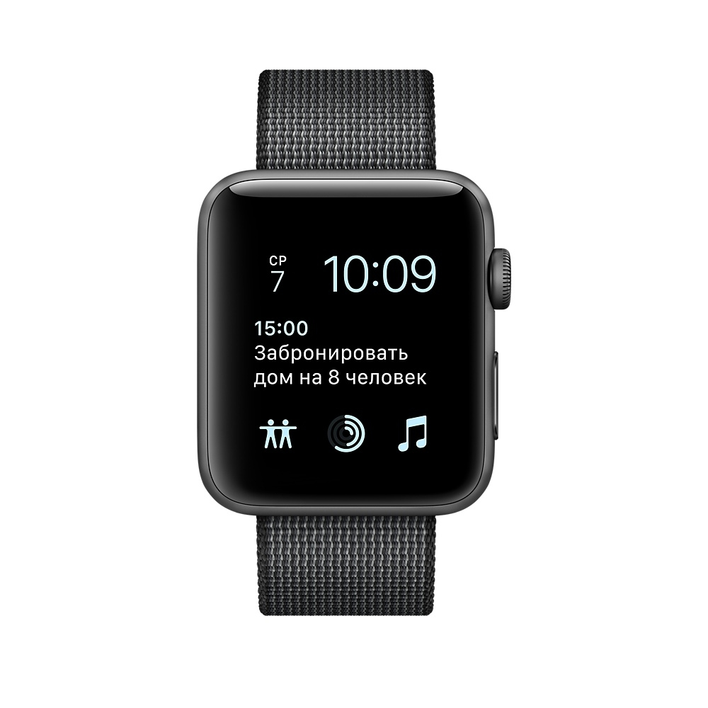 Apple Watch, 38 mm Space Gray Aluminum Case with Black Woven Nylon MP052 - 1