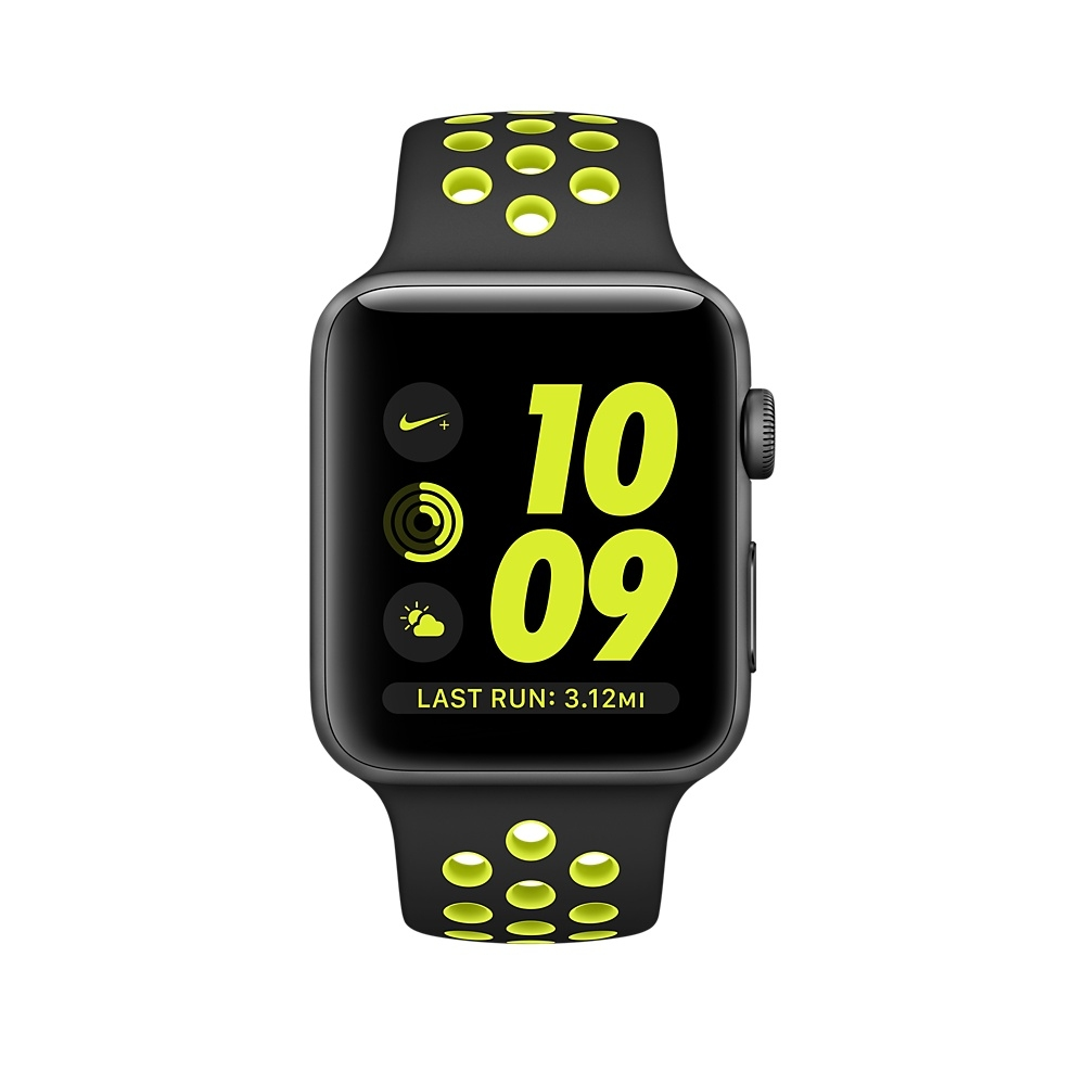 Apple Watch Nike+, 38 mm Space Gray Aluminum Case with Black/Volt Nike Sport Band MP082 - 1
