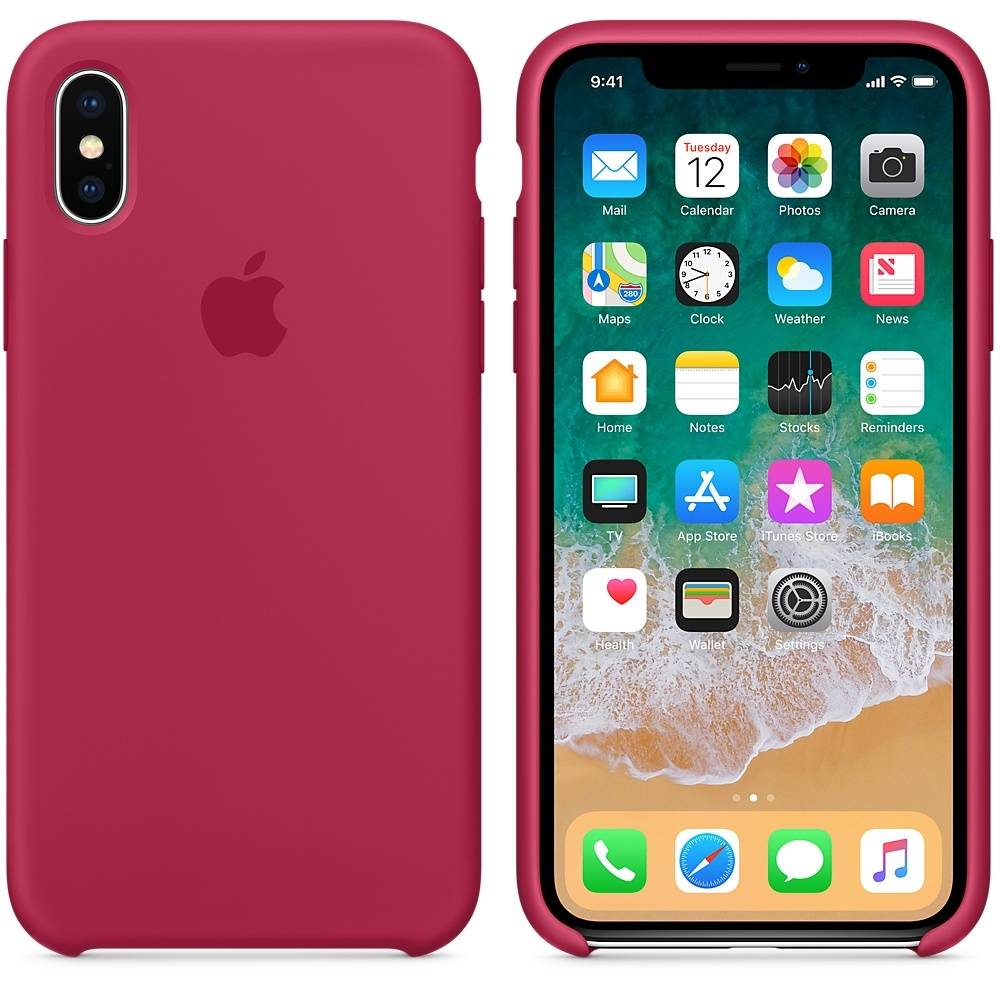 iPhone X\Xs Silicone Case - Rose Red - 1