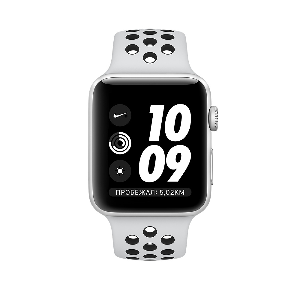 Apple Watch Nike+ Series 3 (GPS) 38mm Silver Aluminum Case with Pure Platinum/Black Nike Sport Band MQKX2 - 1