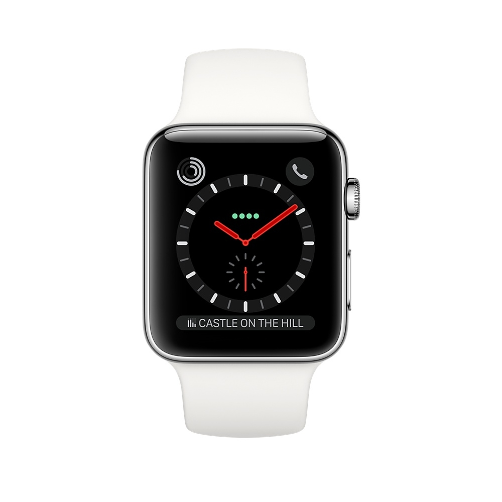Apple Watch GPS + Cellular 38mm Stainless Steel Case with Soft White Sport Band MQJV2 - 1