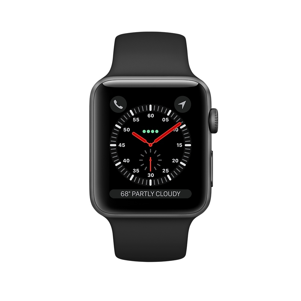Apple Watch GPS + Cellular 42mm Space Gray Aluminum Case with Black Sport Band MQK22 - 1