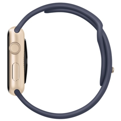 Apple Watch Sport 42mm Gold Aluminum Case with Midnight Blue Sport Band MLC72 - 2