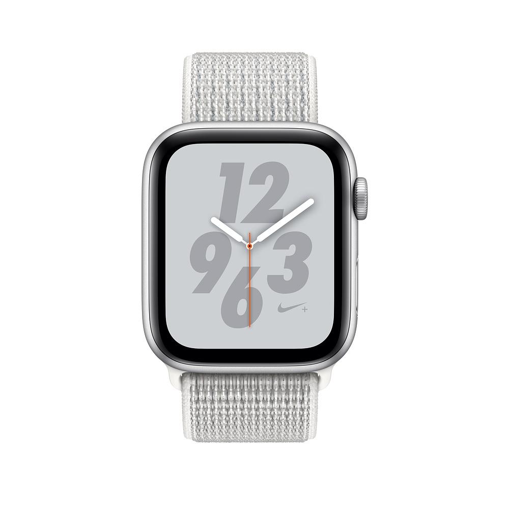 Apple Watch Nike+ Series 4 GPS + Cellular, 40mm Silver Aluminum Case with Summit White Nike Sport Loop (MTXF2) - 1