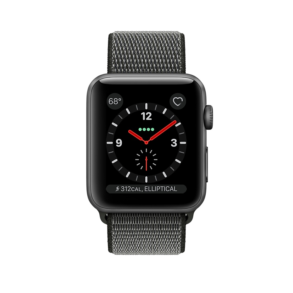 Apple Watch GPS + Cellular 38mm Space Gray Aluminum Case with Dark Olive Sport Loop MQJT2 - 1