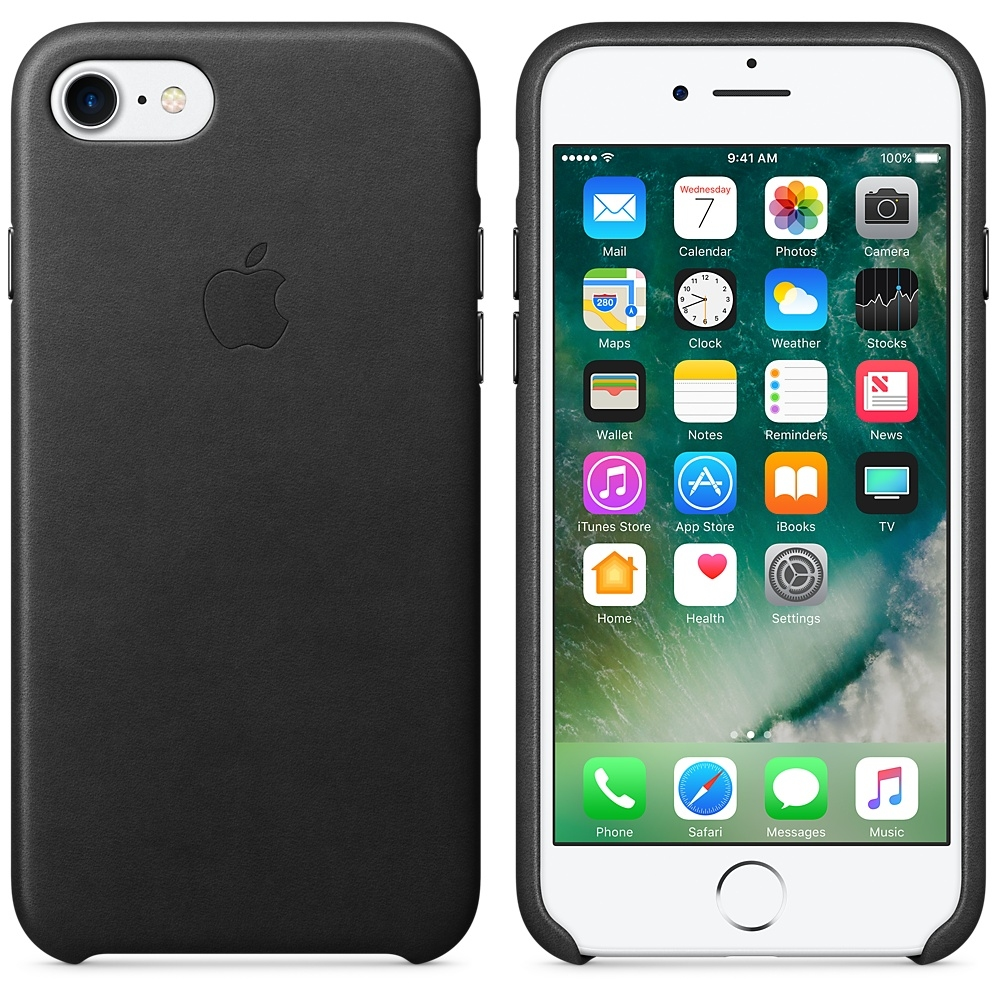 iPhone 7/8 Leather Case - Black - 1