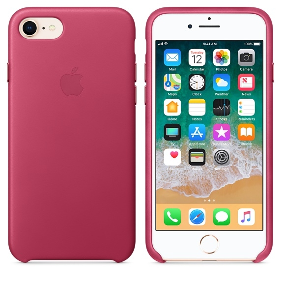 iPhone 7/8 Leather Case - Pink Fuchsia - 1