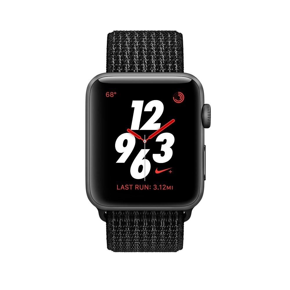 Apple Watch Nike+ GPS + Cellular 38mm Space Gray Aluminum Case with Black/Pure Platinum Sport Loop MQL82 - 1