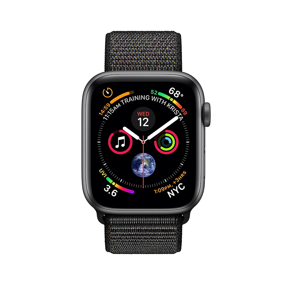 Apple Watch GPS 44mm Space Gray Aluminum Case with Black Sport Loop (MU6E2) - 1