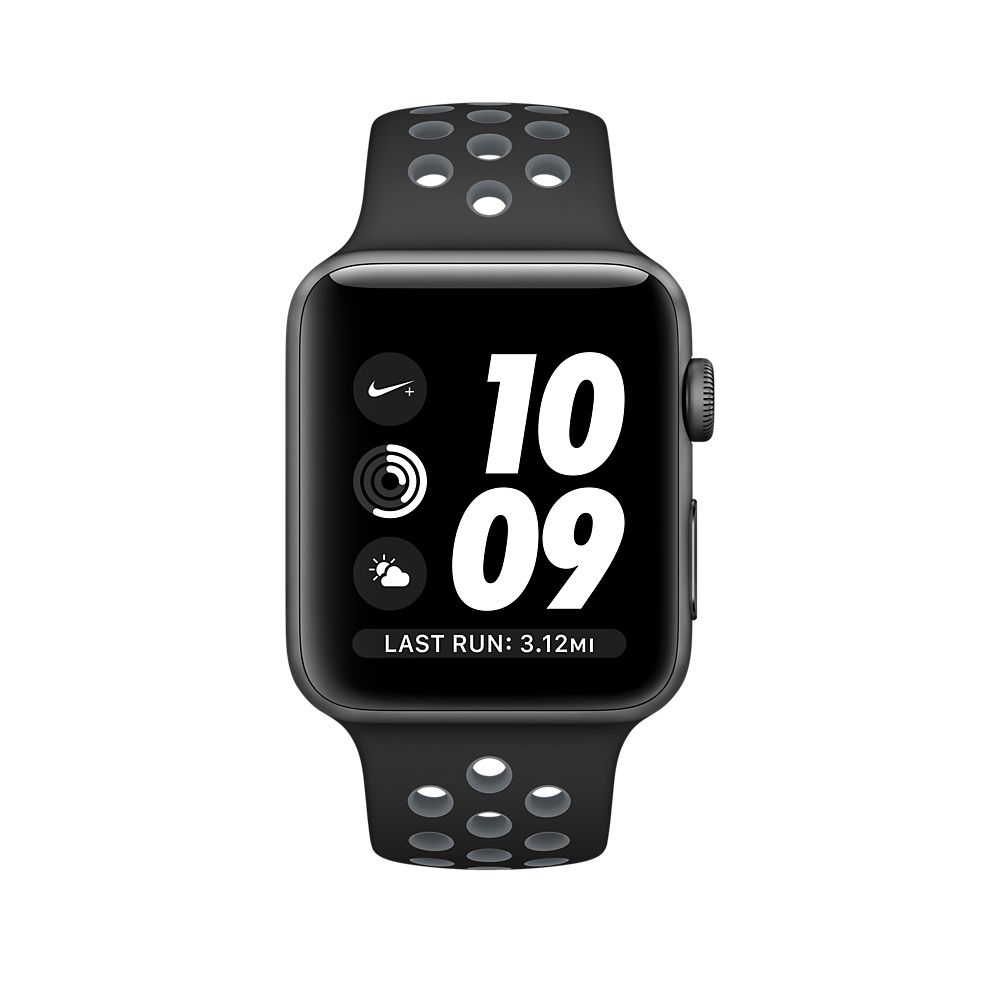 Apple Watch Nike+, 38 mm Space Gray Aluminum Case with Black/Cool Gray Nike Sport Band MNYX2 - 1