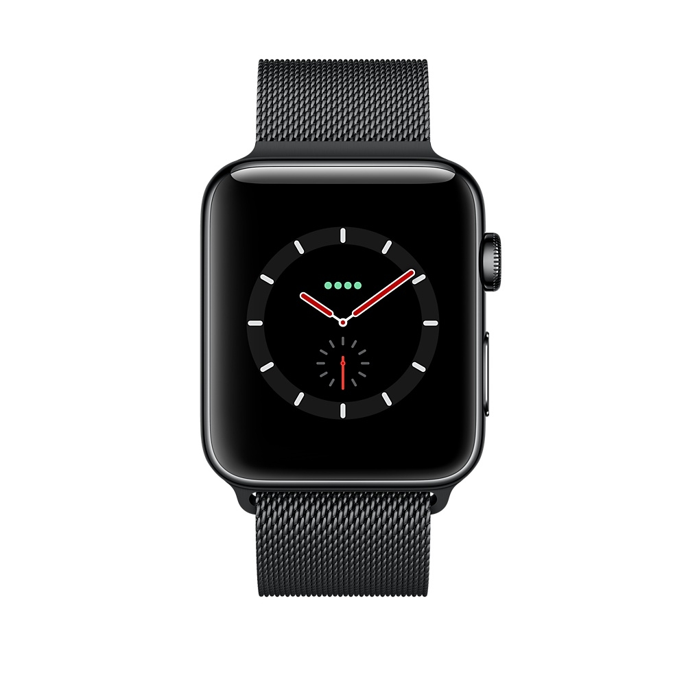 Apple Watch GPS + Cellular 38mm Stainless Steel Case with Space Black Milanese Loop MR1H2 - 1