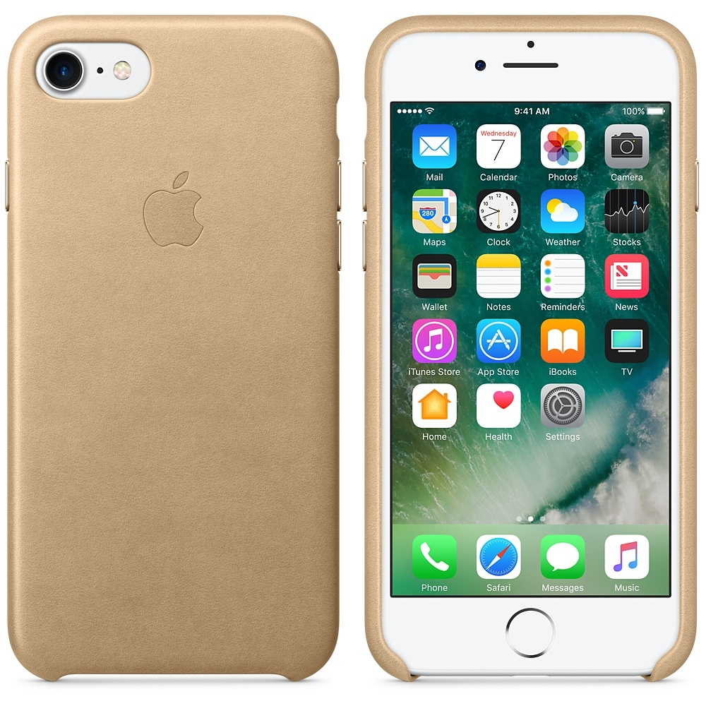 iPhone 7/8 Leather Case - Tan - 1