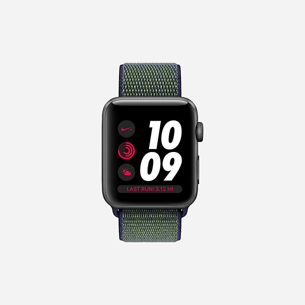 Apple Watch Nike+ GPS + Cellular 42mm Space Gray Aluminum with Mig Fog Sport Loop MQLH2 - 1