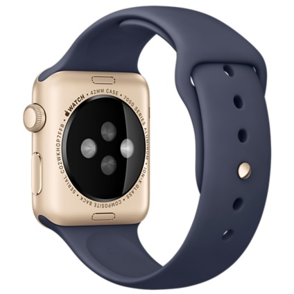 Apple Watch Sport 42mm Gold Aluminum Case with Midnight Blue Sport Band MLC72 - 3