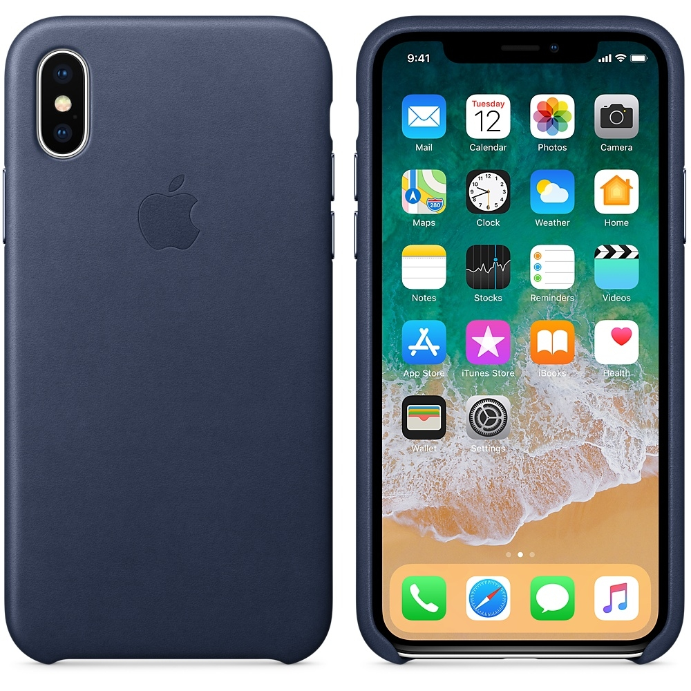 iPhone X\Xs Leather Case - Midnight Blue - 1