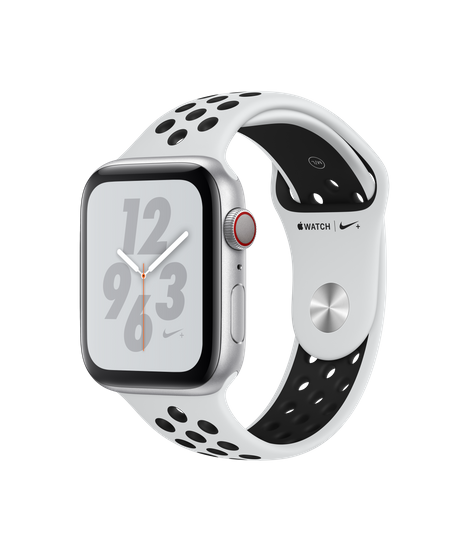 Apple Watch Nike+ Series 4 GPS + Cellular, 44mm Silver Aluminum Case with Pure Platinum/Black Nike Sport Band (MTXK2)